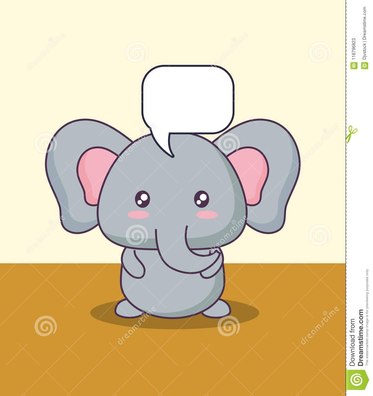 cute elephant with speech bubble kawaii character stock vector