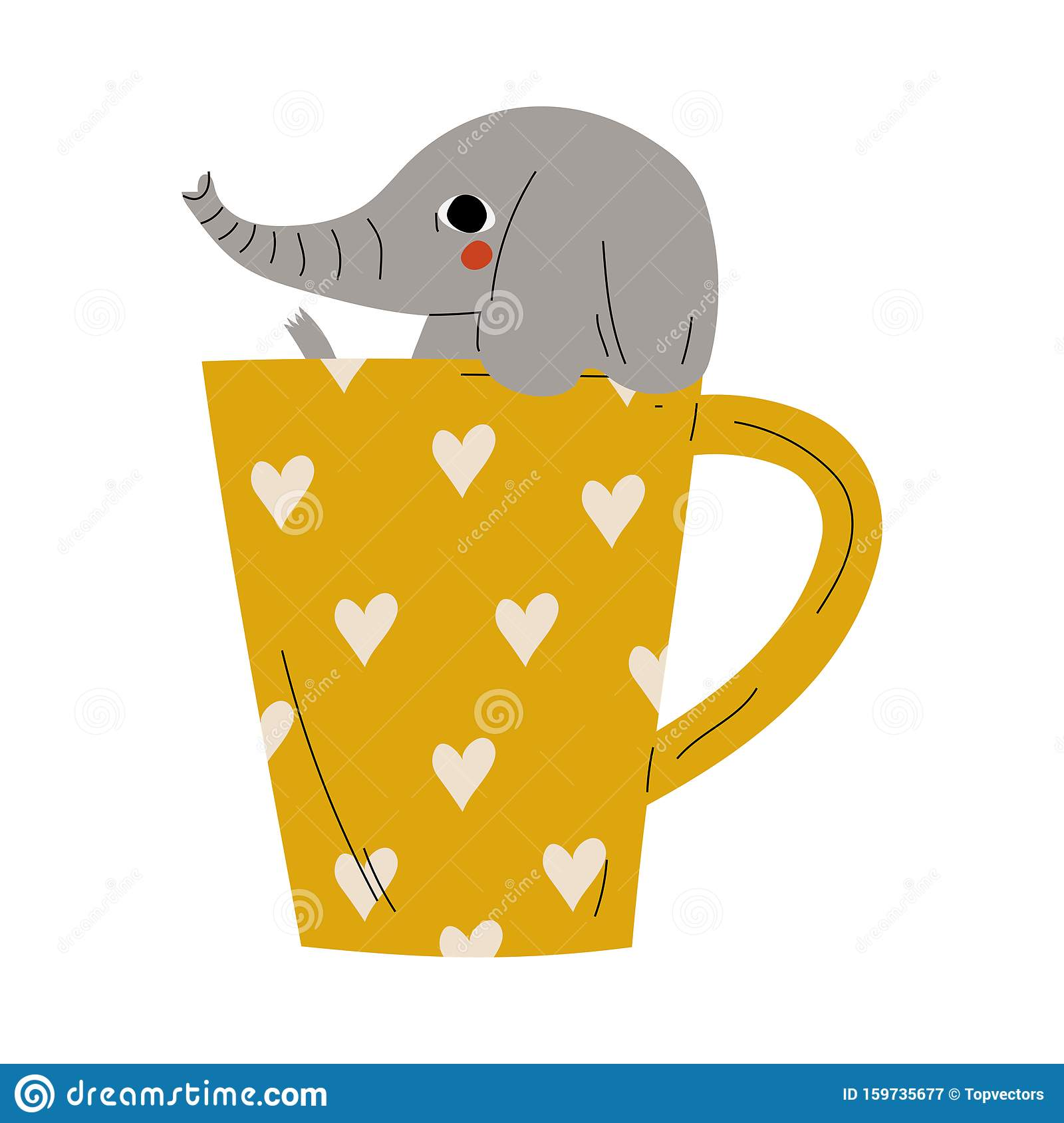 Cute Elephant In Yellow Teacup Adorable Little Cartoon Animal Character Sitting In Coffee Mug Vector Illustration Stock Vector Illustration Of Friendship Heart 159735677