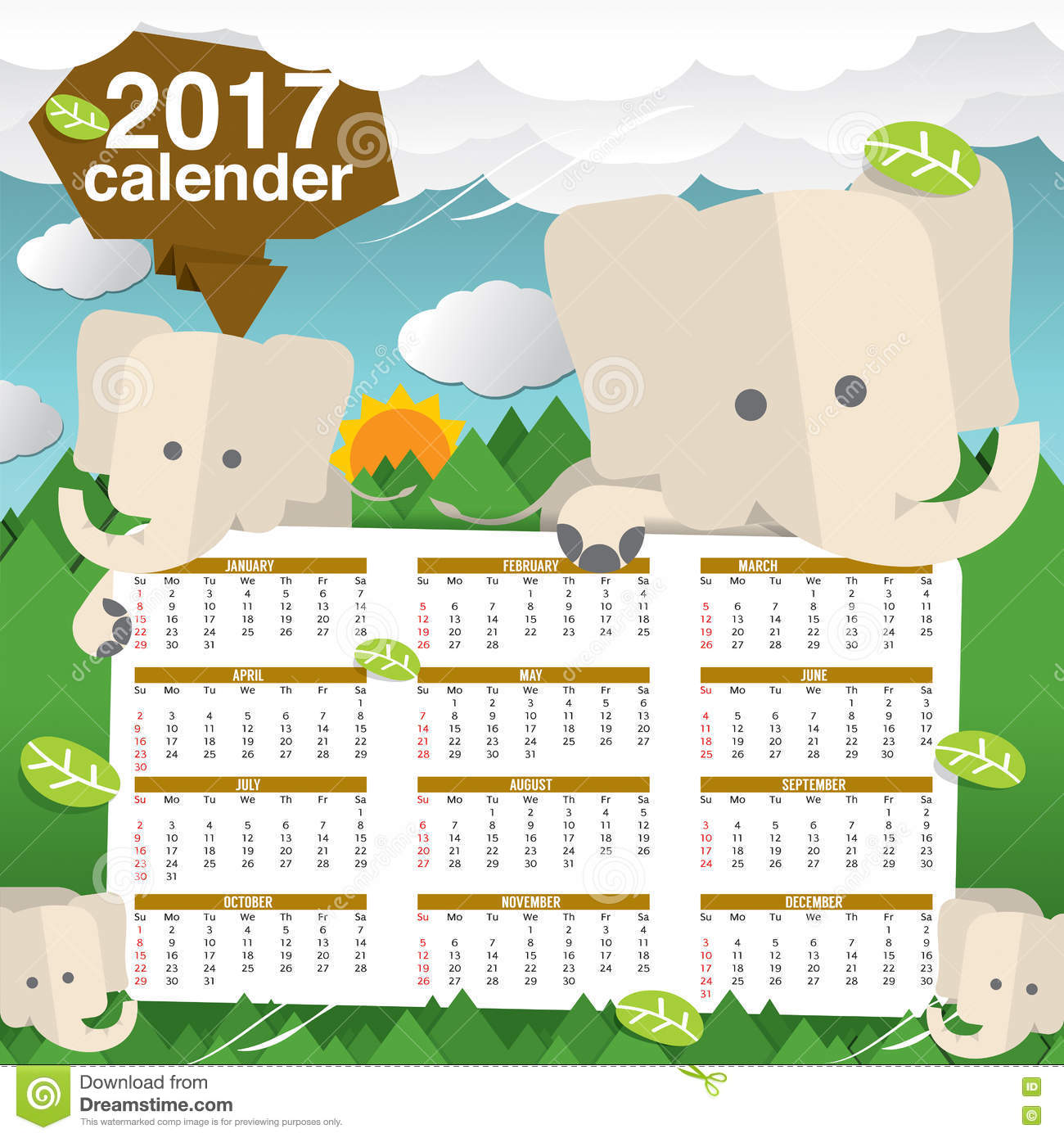 Cute Calendar Illustration : Cute elephants calendar starts sunday stock vector