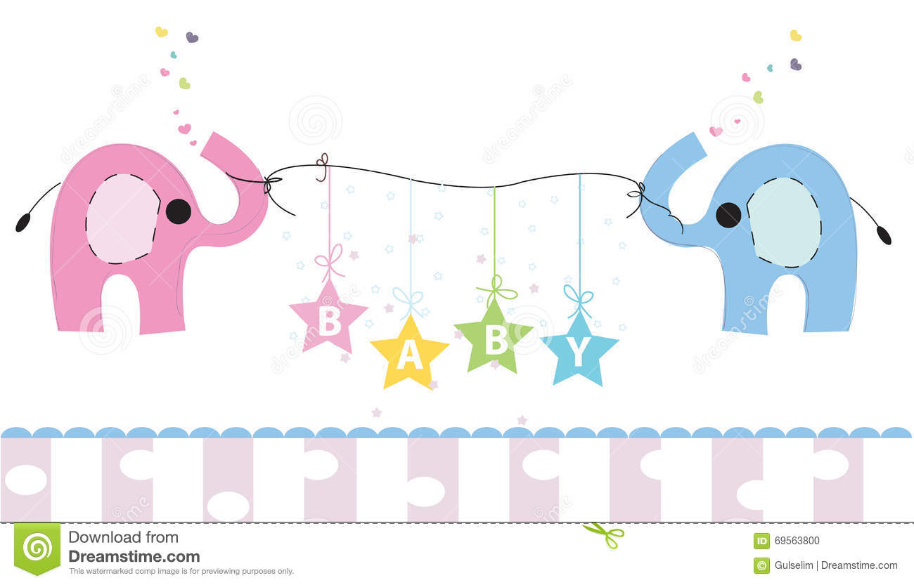 Cute Elephants With Gift Box Vector Background Happy Birthday Greeting Card