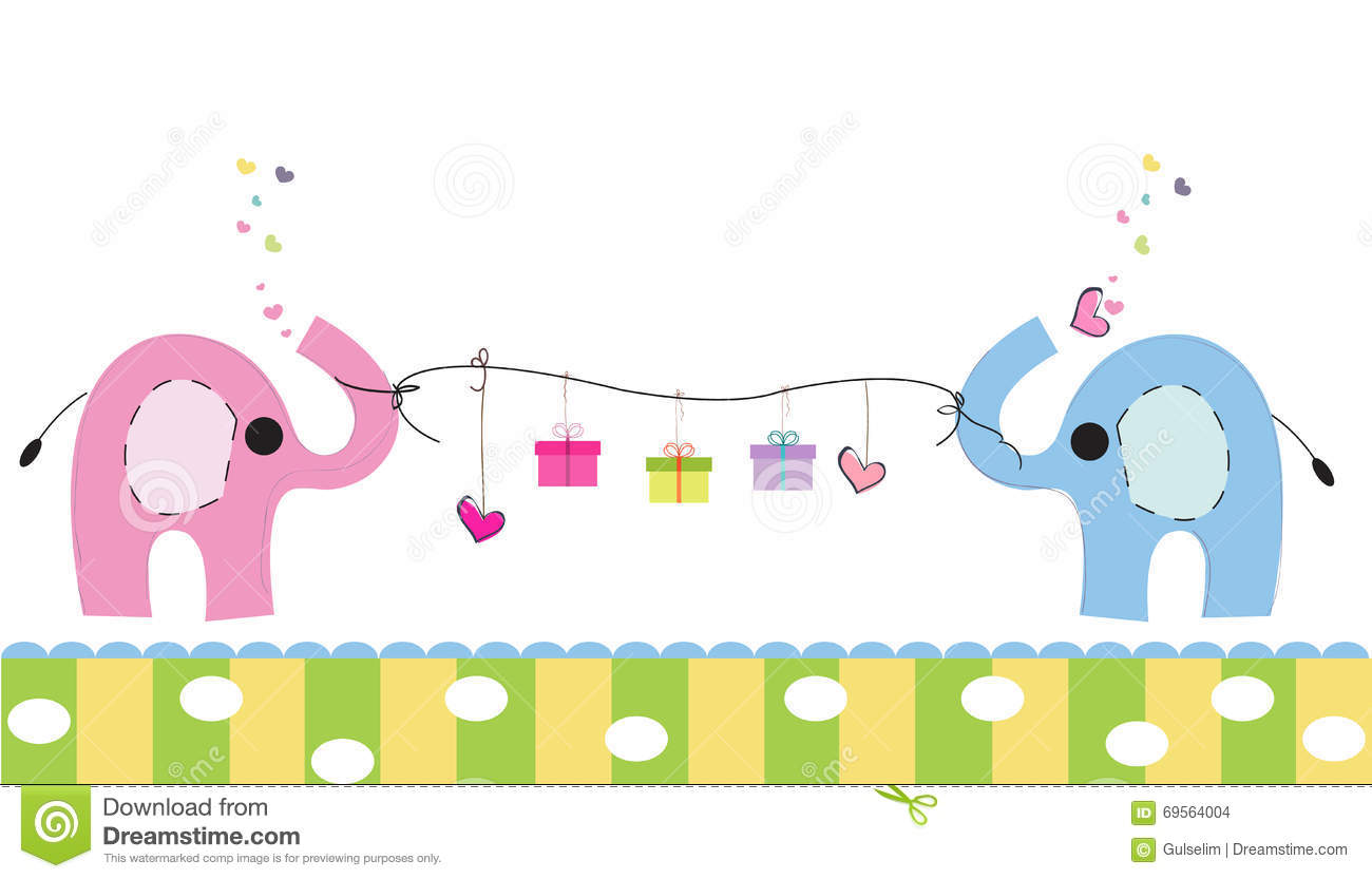 Cute Elephants With Gift Box Vector Background Happy Birthday