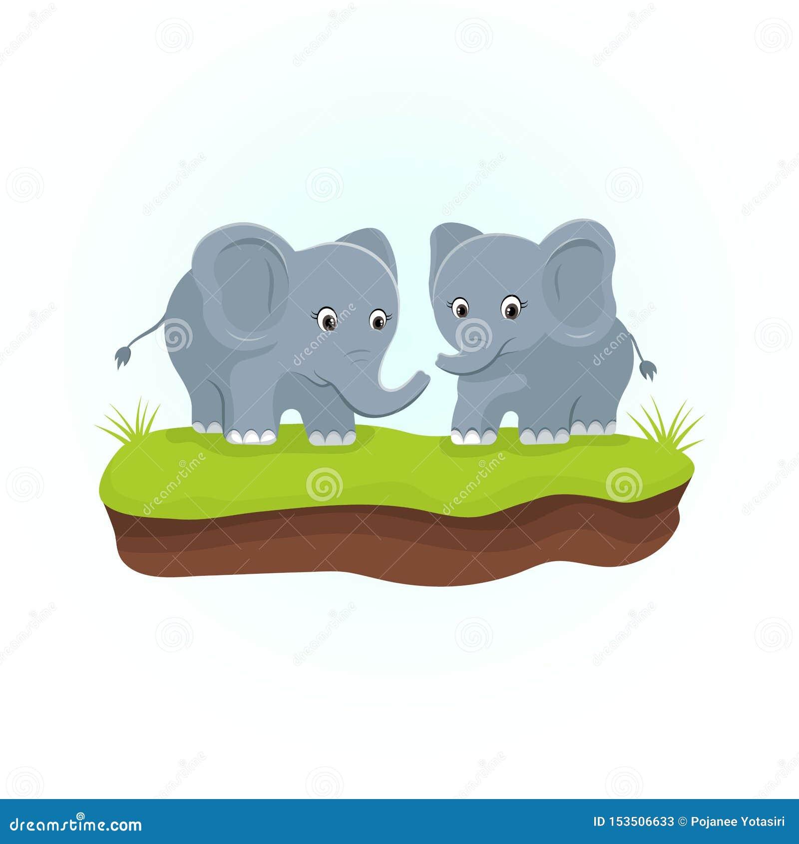 Cute Elephants on the green grasses. Animals cartoon character.