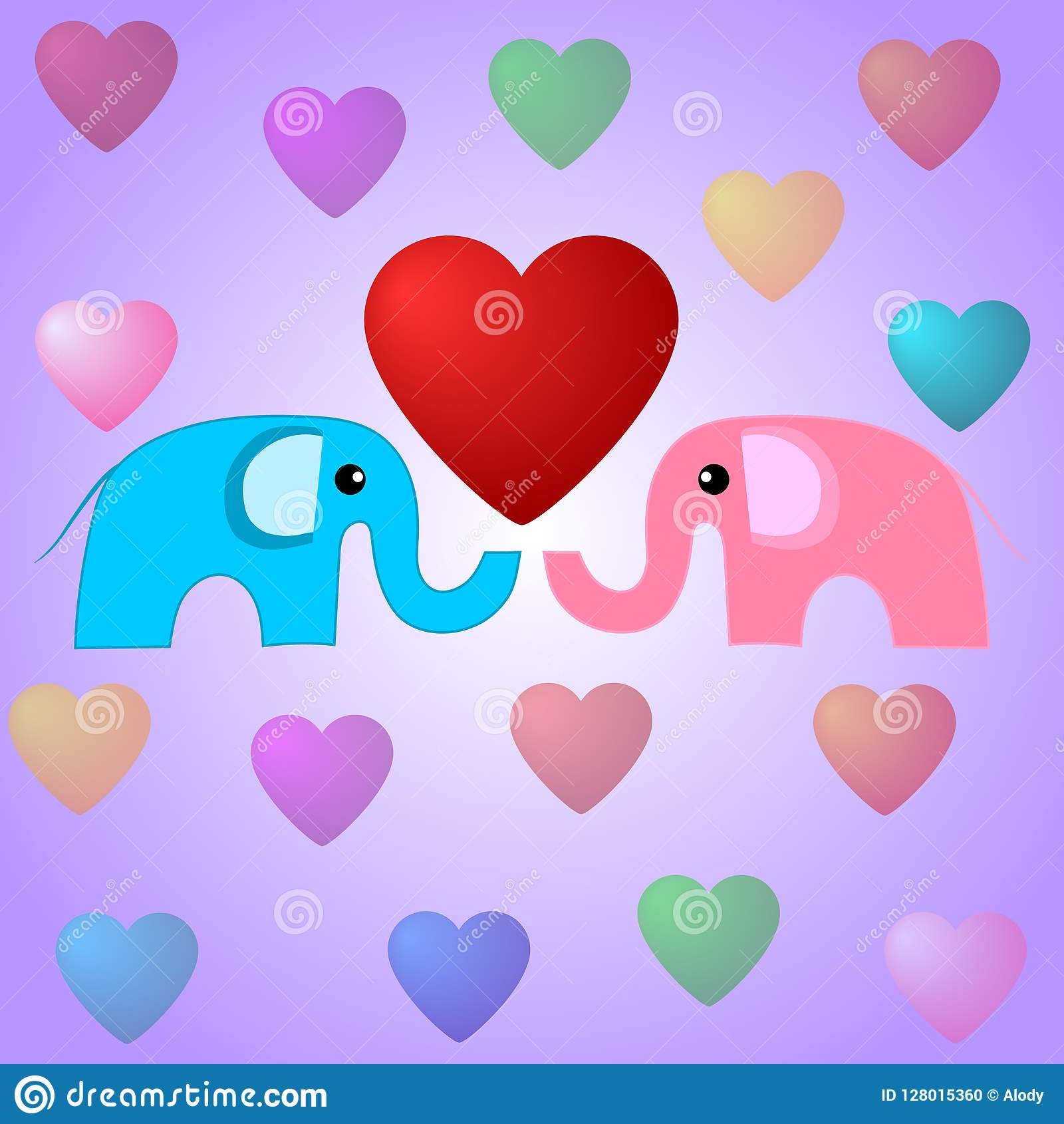 Cute elephants and hearts. Valentines day illustration. Elephants in love. Vector Illustration for Your Design.