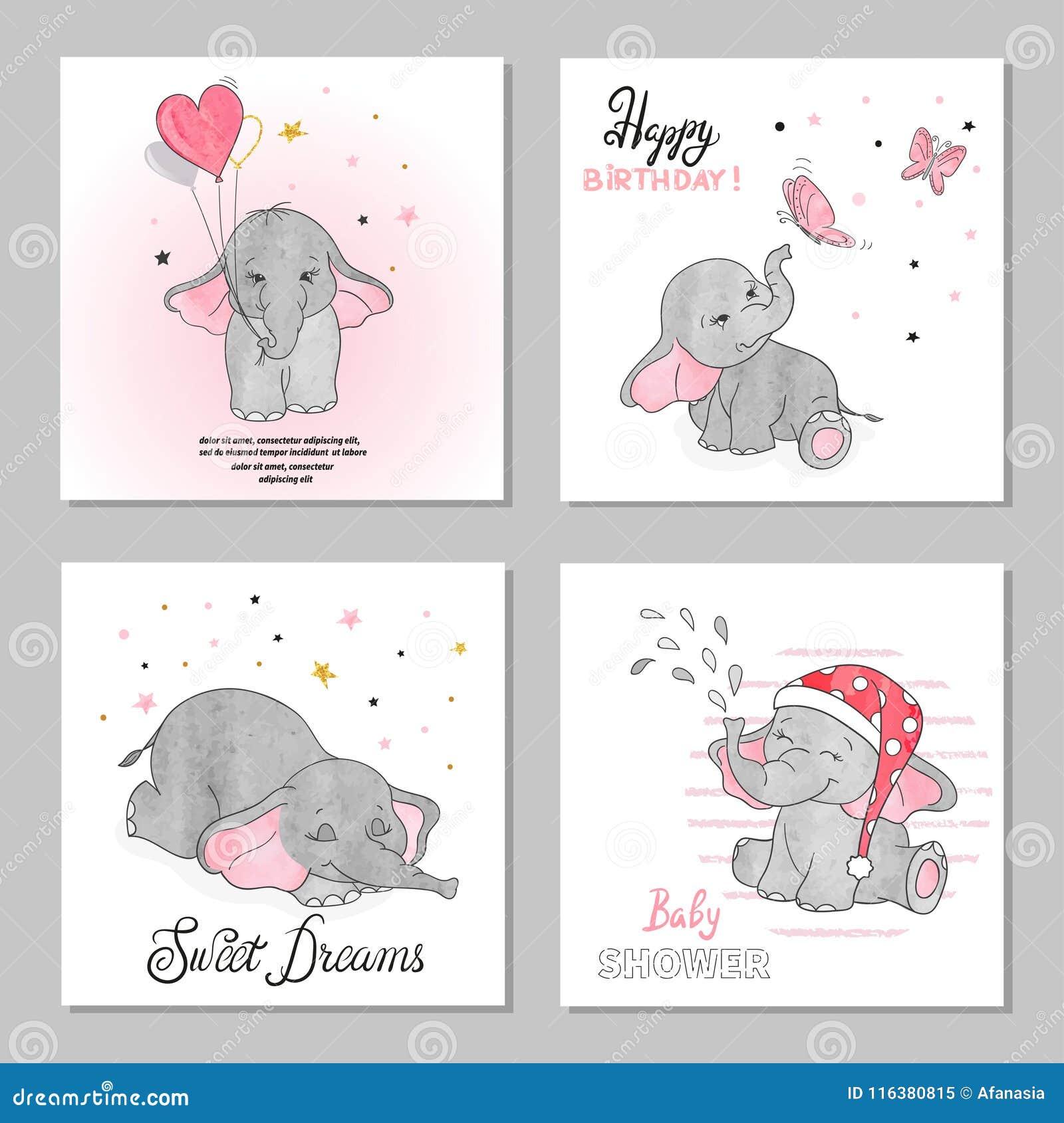 Cute Elephants Vector Illustrations Set Of Birthday Greeting Cards