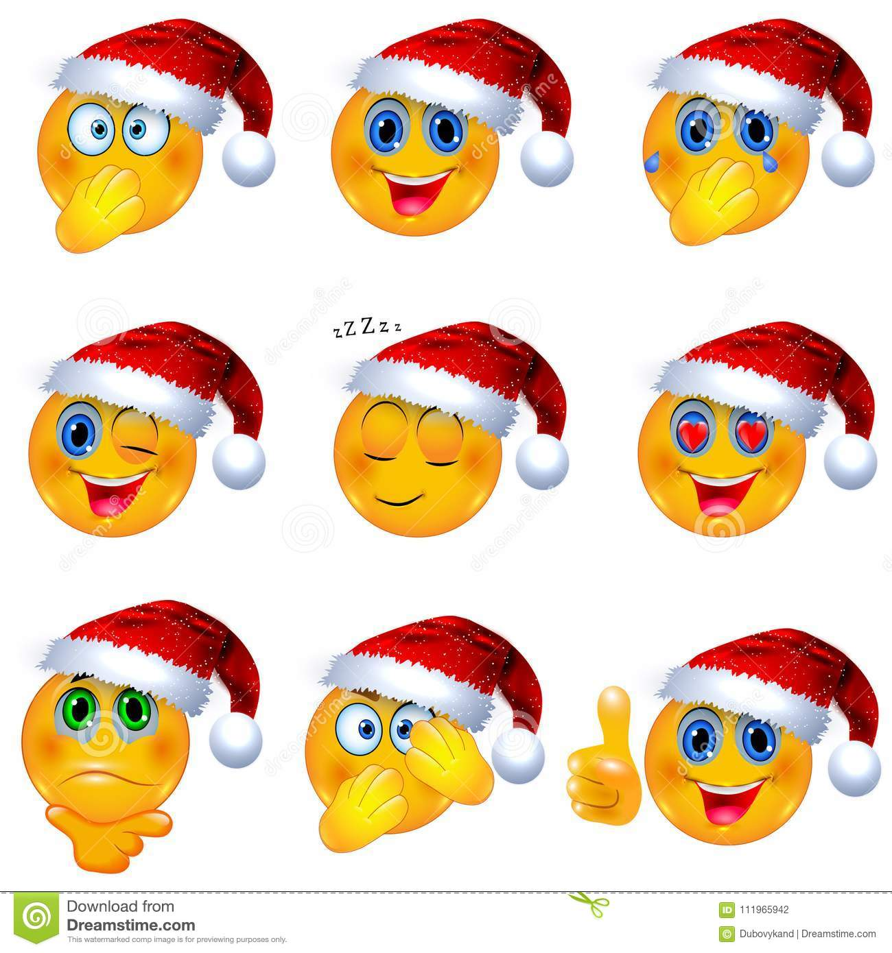 download yellow smiley faces with christmas santa hat on emoji vector illustration stock vector - Christmas Smiley Faces