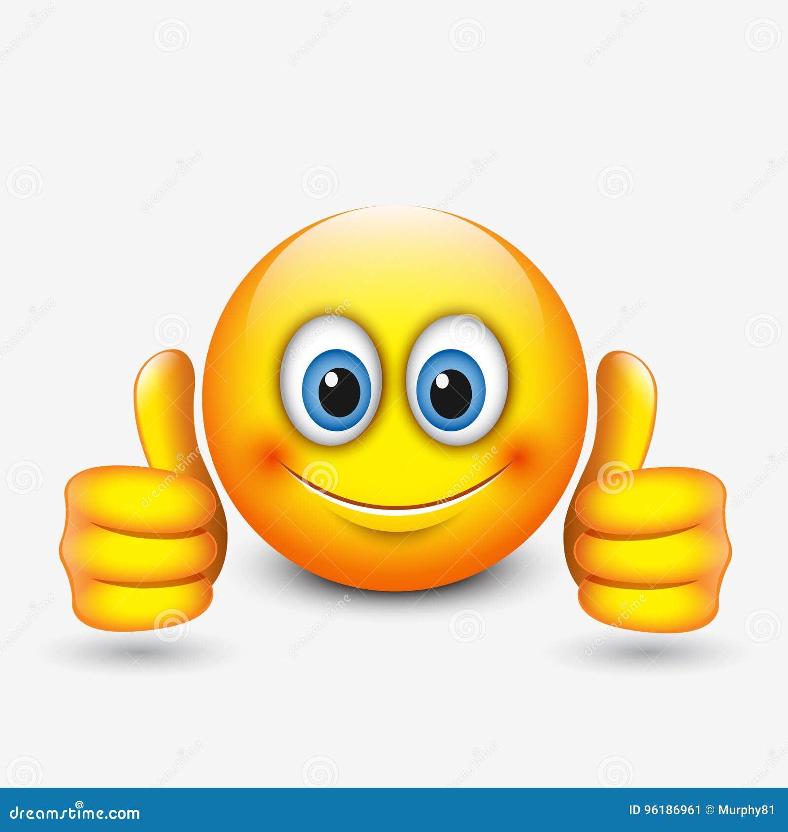 Thumbs Up Emoticon Emoji Vector Illustration ...