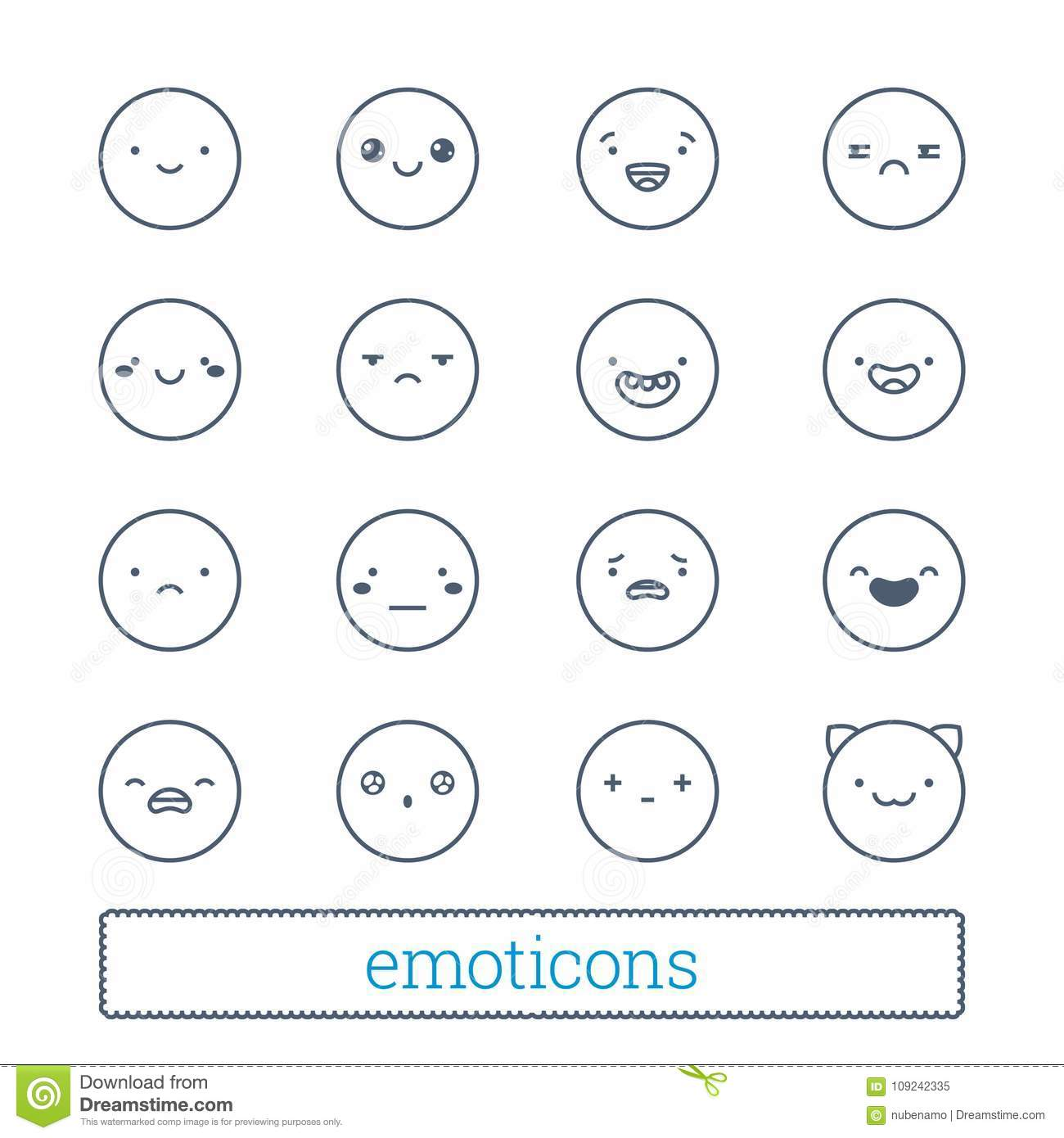 Cute emoticons thin line icons set linear style smiley symbols linear style smiley symbols simple people face expressions for social network chat biocorpaavc Images