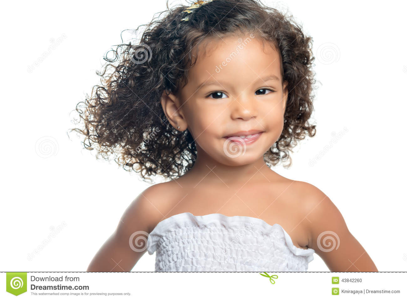 cute ethnic little girl with an afro hairstyle stock photo - image