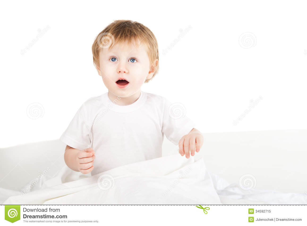Cute Excited Baby Girl In Bed At Home Over White Royalty ...