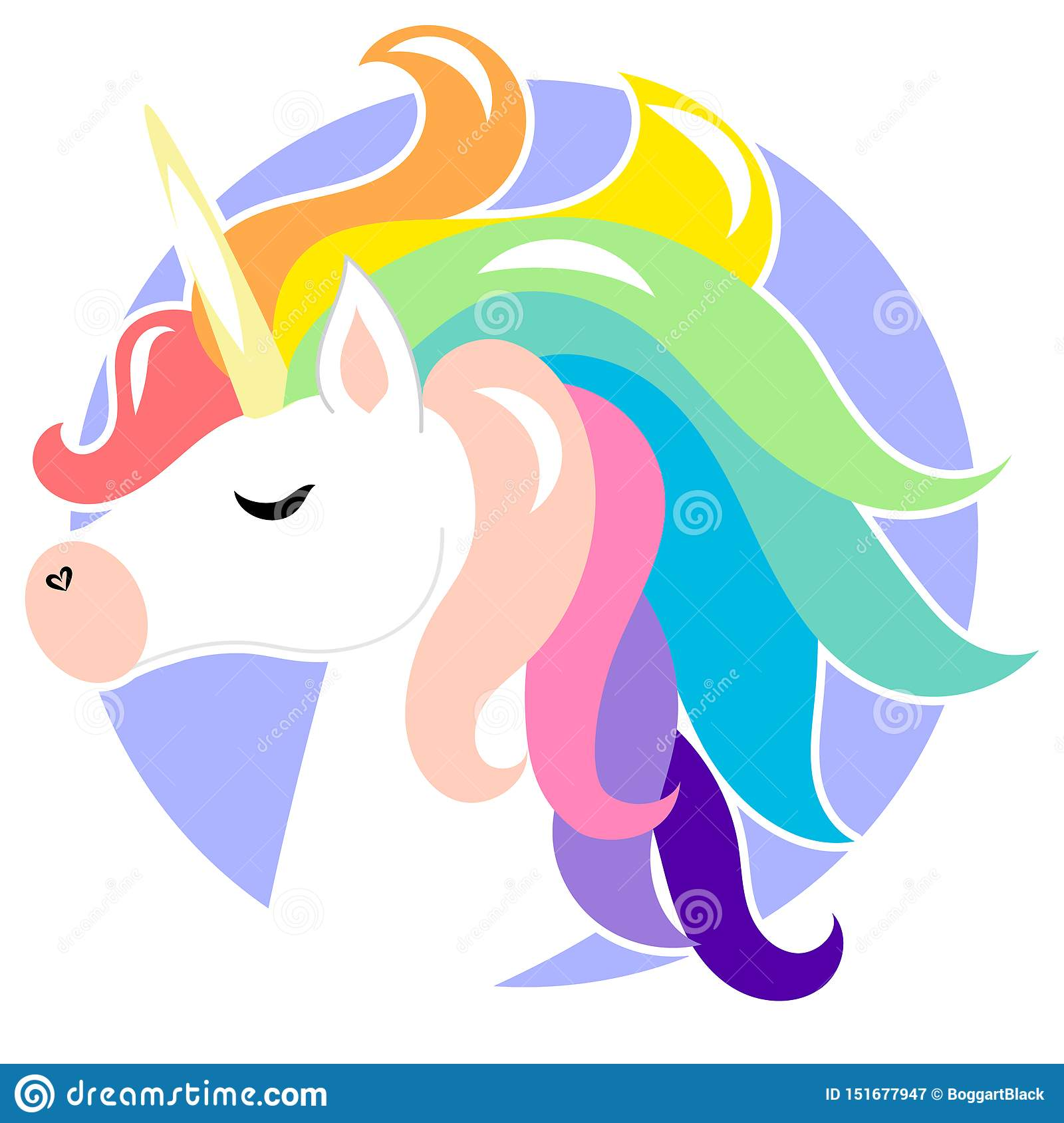 Cute face unicorn with rainbow hair. Vector cartoon character illustration. Design for child card, t-shirt. Girls, kid