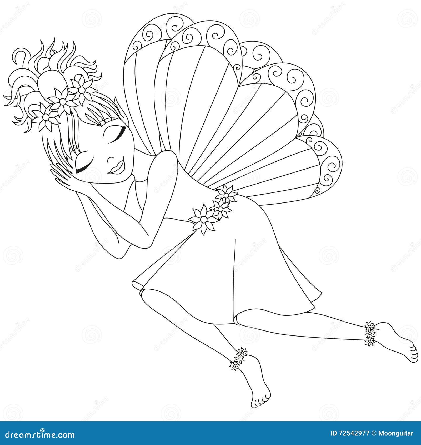 Cute Fairy In Dress Is Sleeping