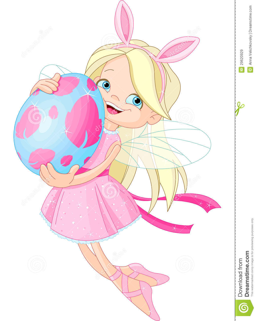 cute fairy flying with easter egg royalty free stock images