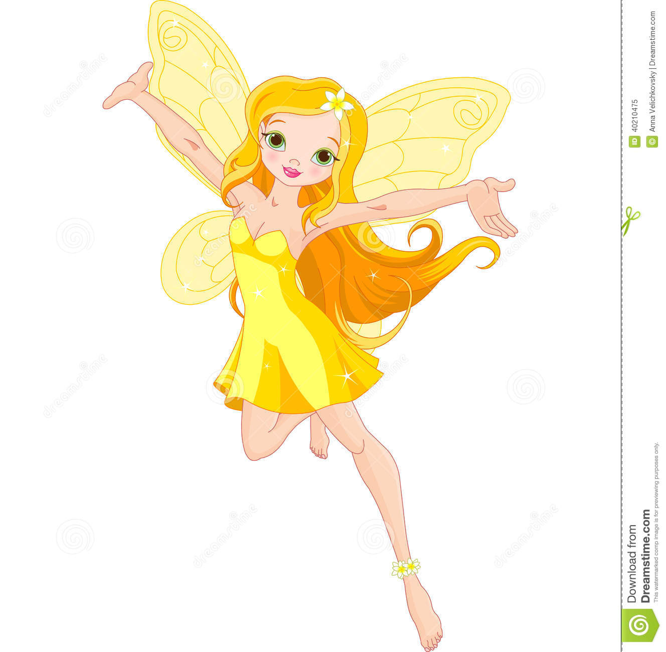 Illustration of a cute yellow fairy in flight.