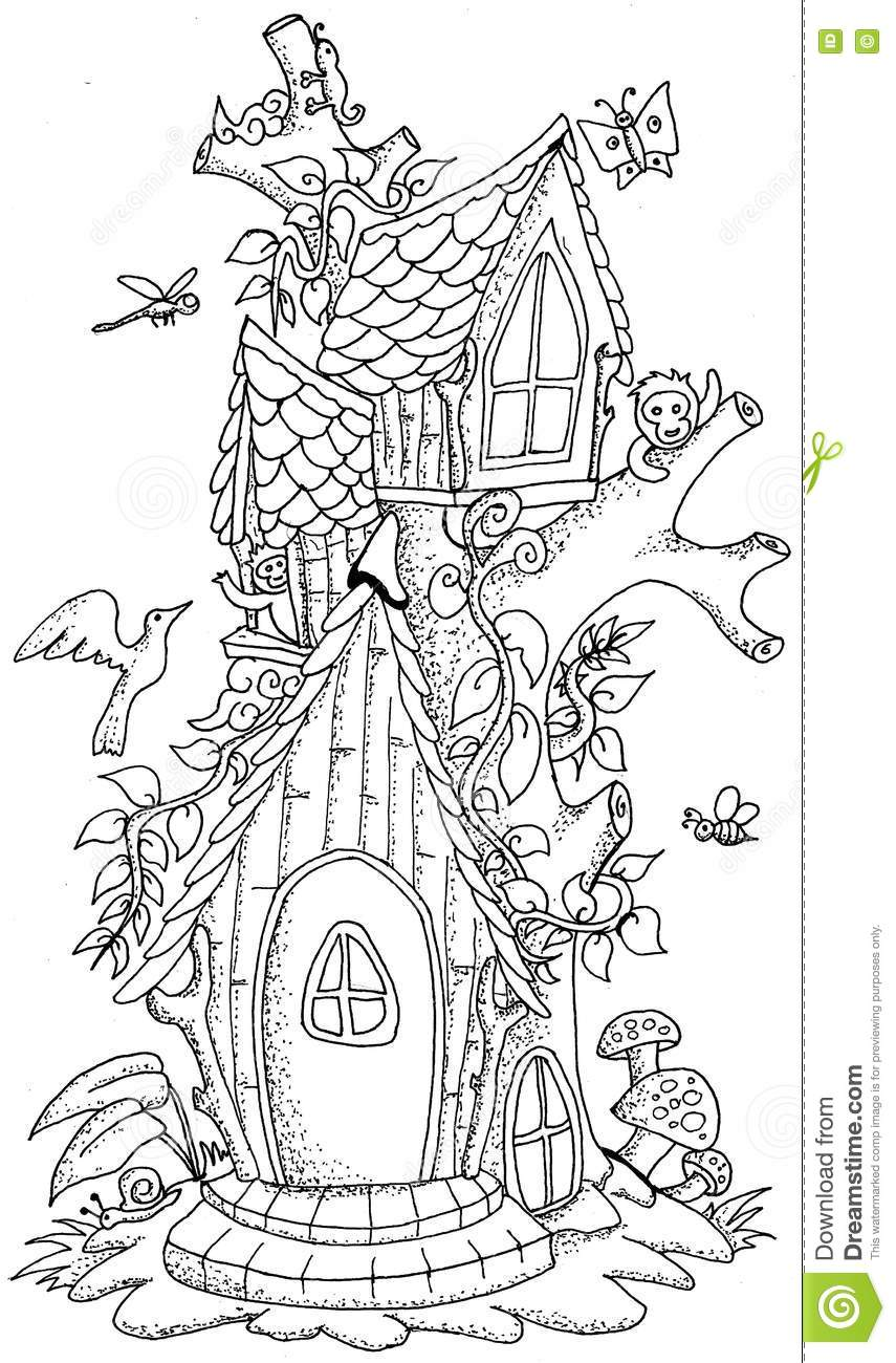 Cute fairy tale doodle mushrooms house for coloring book for adult