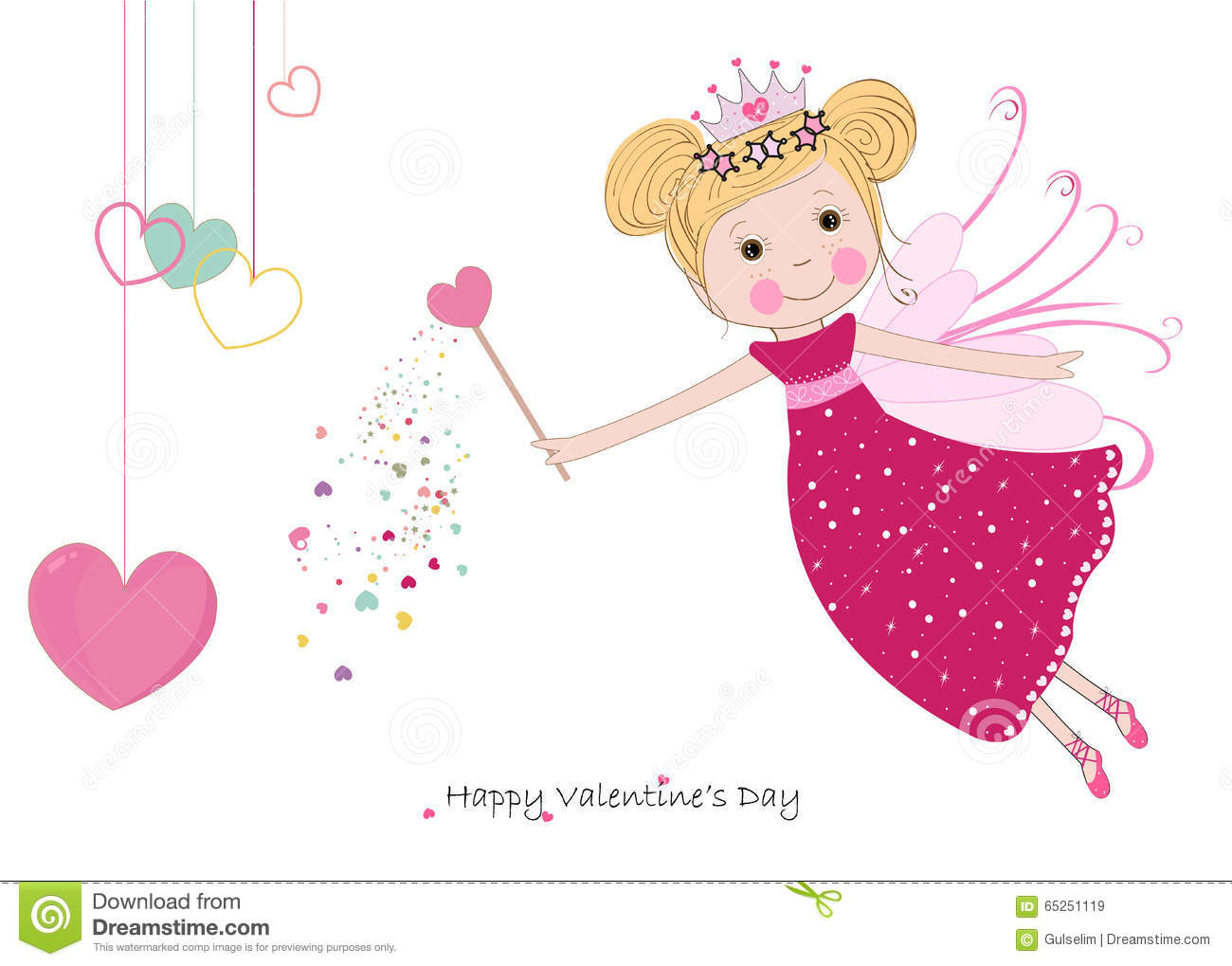 Cute Fairy Tale With Hanging Hearts Happy Valentine S Day Greeting