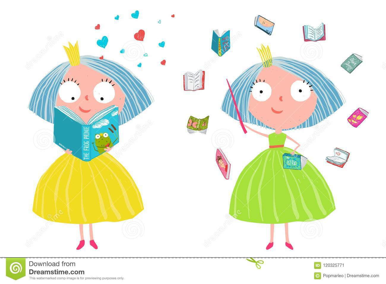 Cute Fairy Tale Princess Reading Magic Books Stock Vector
