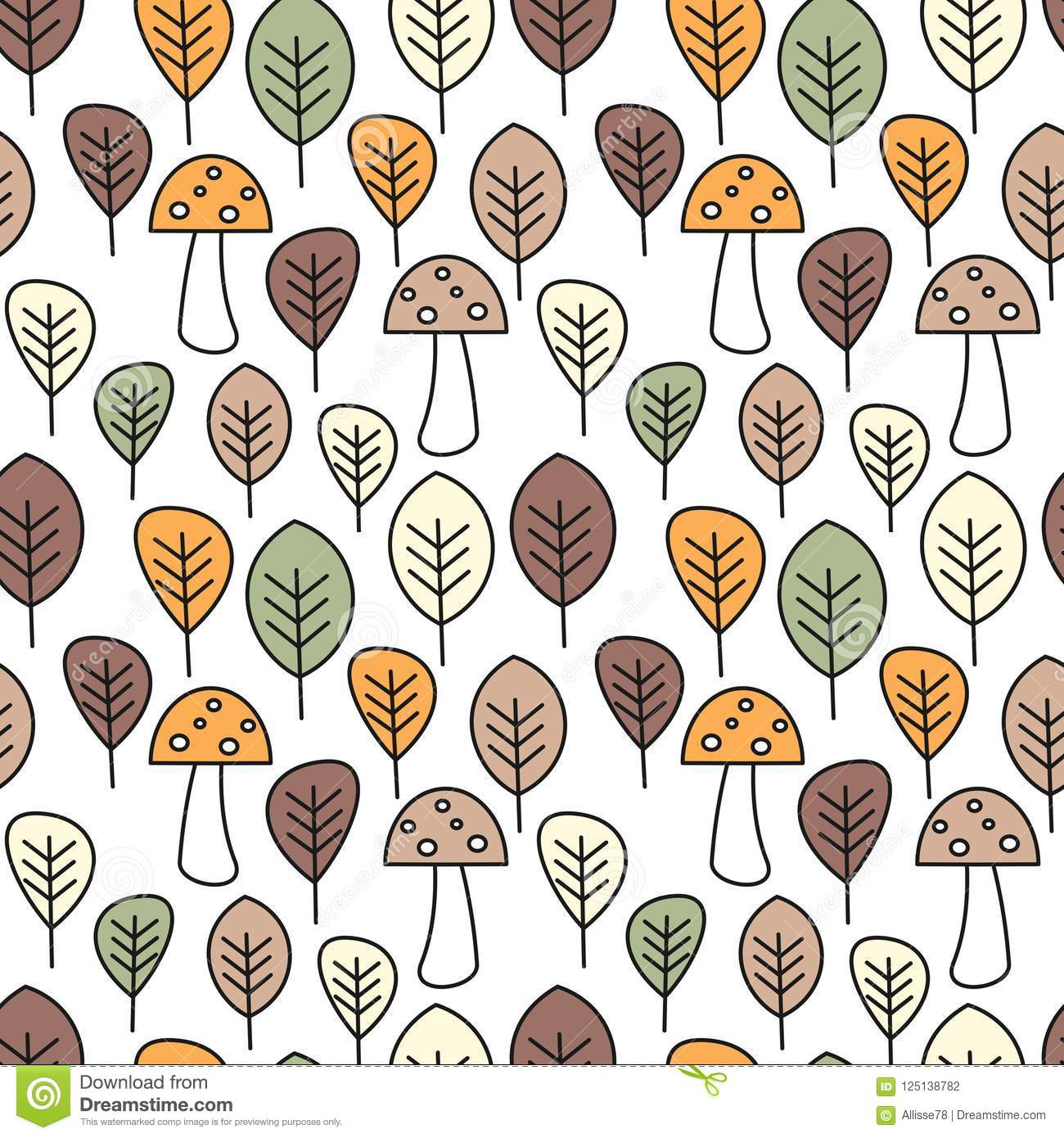 cute fall autumn colorful seamless vector pattern background