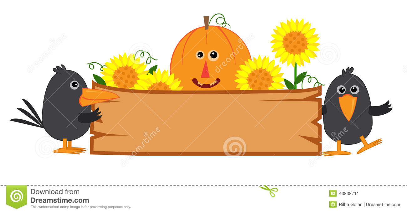 Cute fall banner with pumpkin, sunflowers and crows. Eps10.