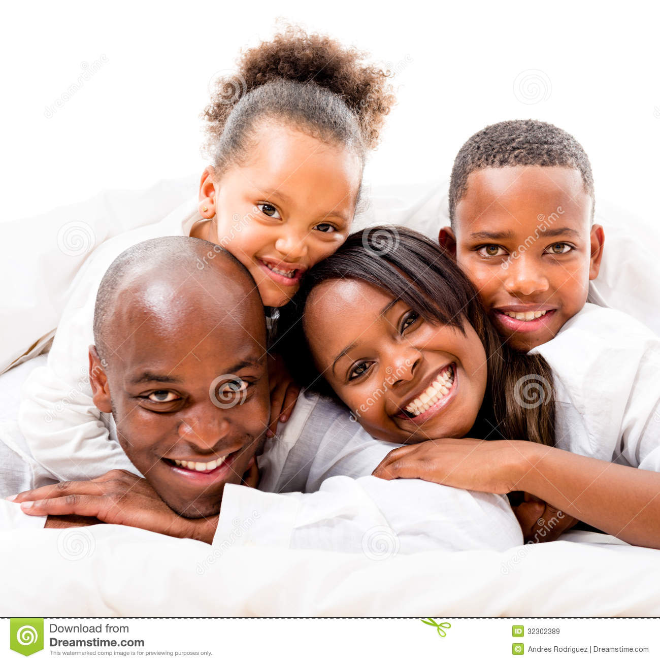 Cute Family In Bed Royalty Free Stock Images