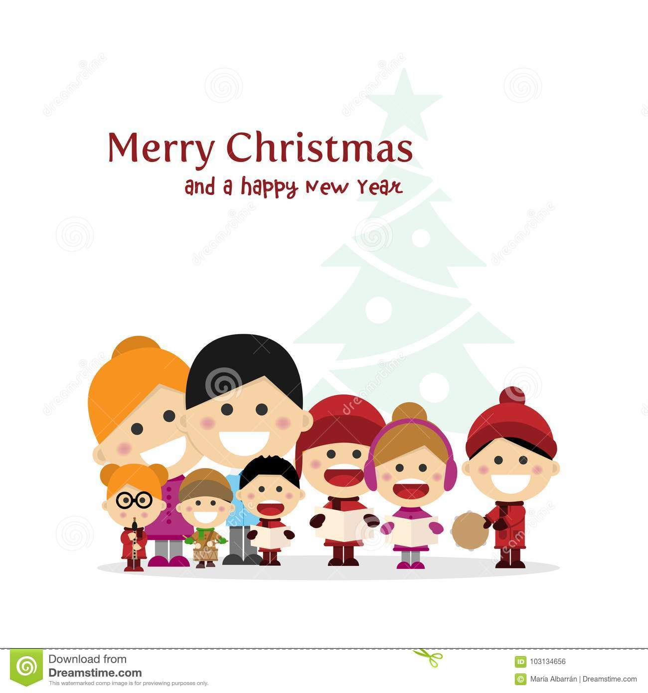 download cute family singing carols at christmas night with tree background spanish title stock vector
