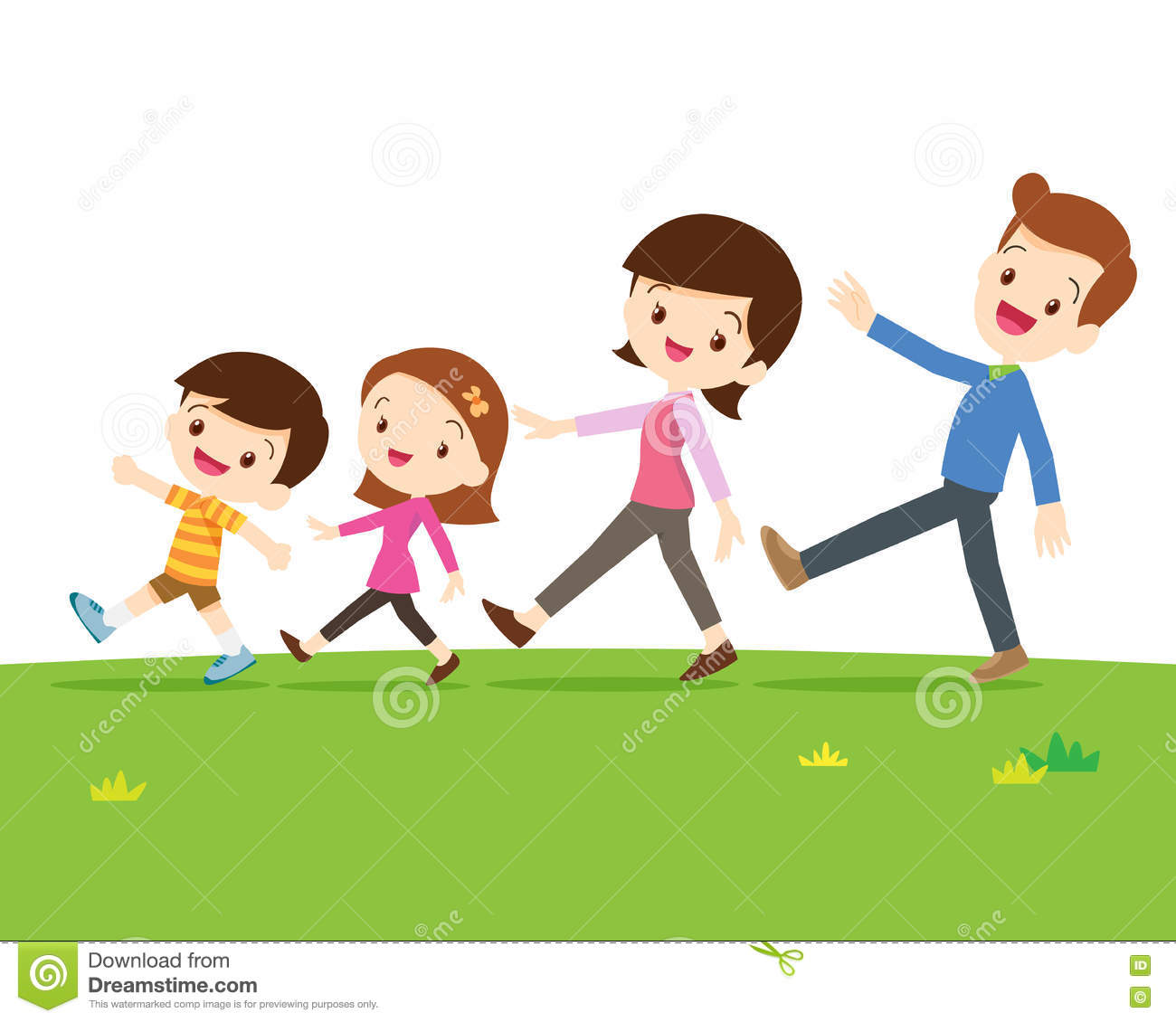 Cute Family Walking Stock Vector Illustration Of Together 75255668 Rh Dreamstime Com Mountain Hiking Clip Art Free