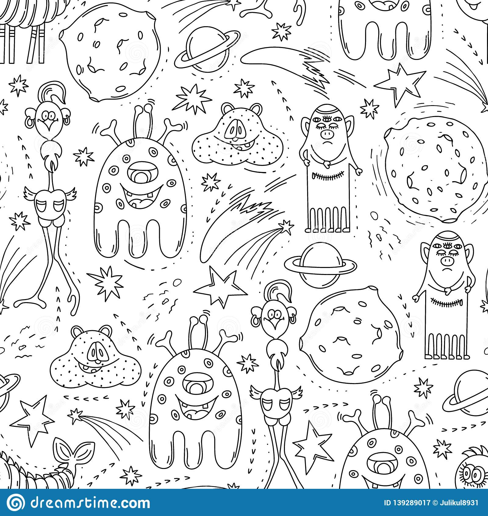 Cute Fantastic Monsters Seamless Pattern  Hand Drawn Doodle
