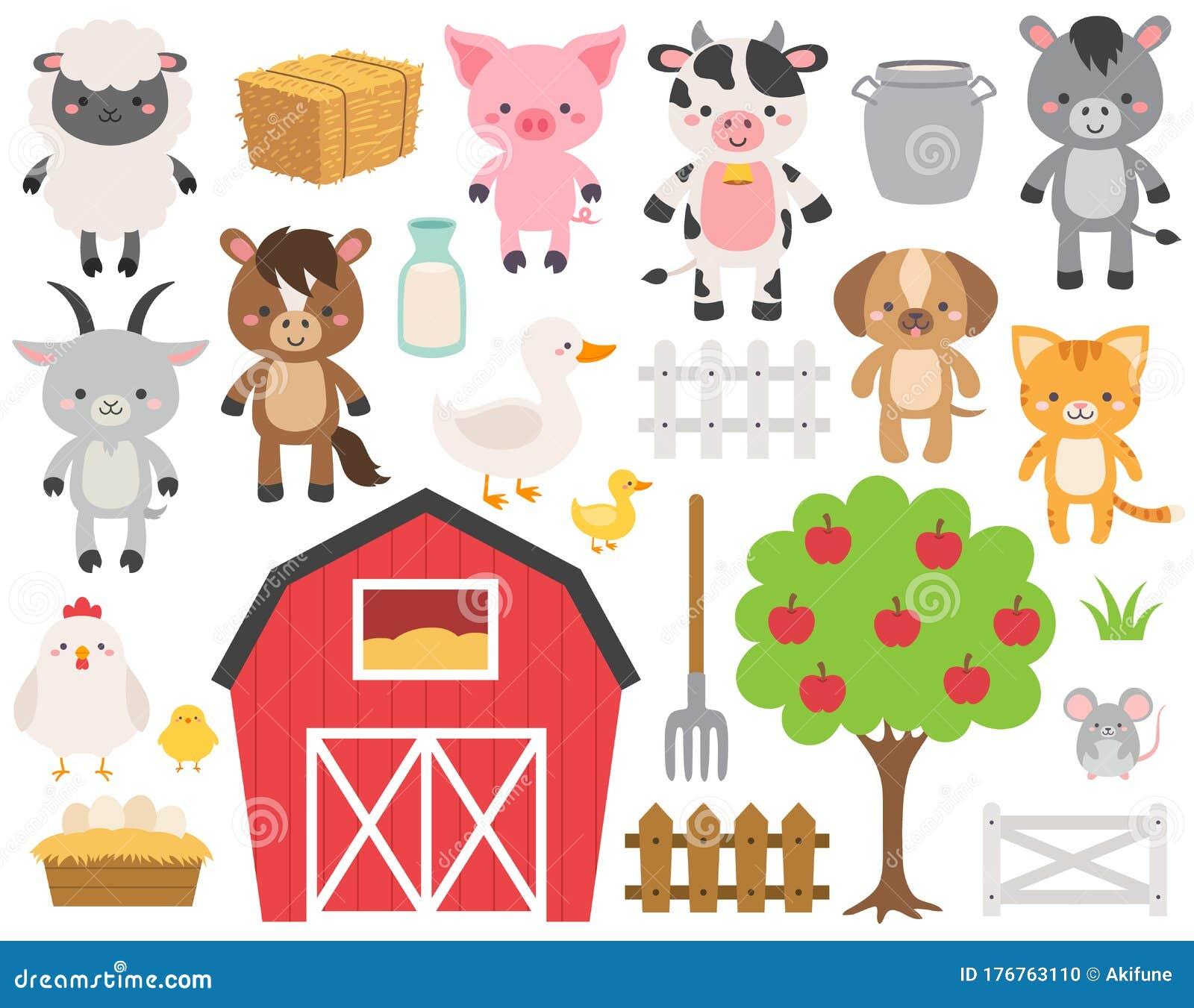 Cute Farm Animal Cartoon Set Vector Illustration Adorable Ranch Animals Clip Art Livestock Characters Flat Style Design Stock Vector Illustration Of Colors Bright 176763110