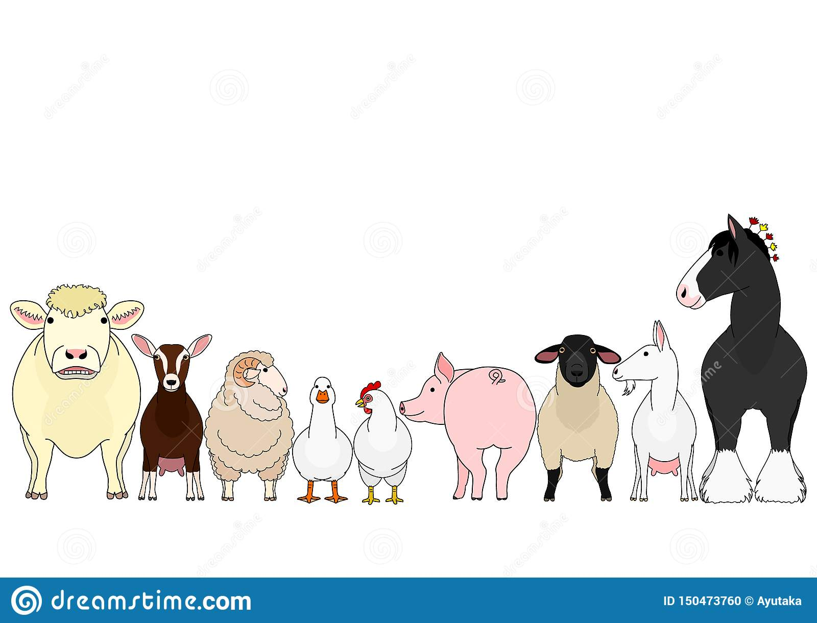 Set Farm Animals Vector Illustration Isolated Stock Vector ... | 1220x1600