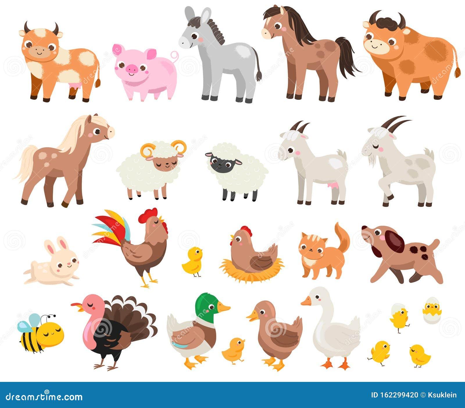 animals farm cartoon children pets cute many pig horse domestic cow creatures donkey illustration
