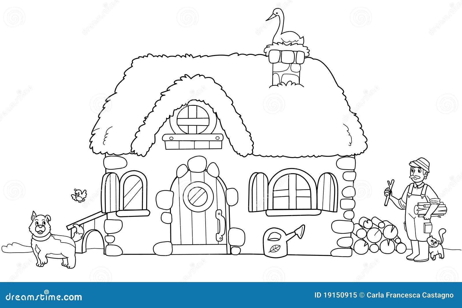 Cute Farm Coloring Illustration Stock Vector Image