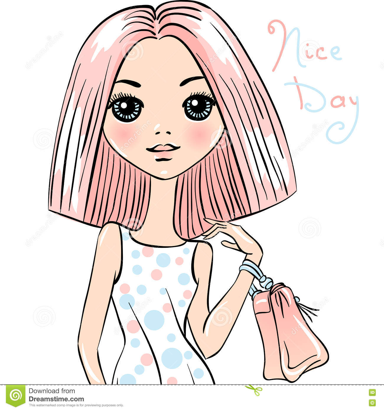 Cute Fashion Girl With Bag Stock Vector Image Of Cartoon 72942471