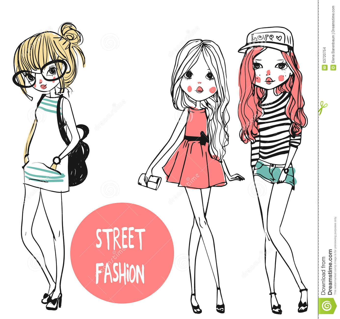 Cute Fashion Girls Stock Vector Image 63720754
