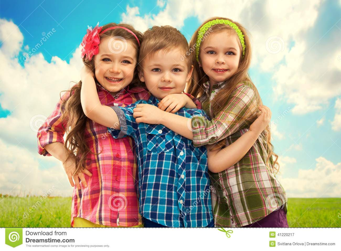 Https Www Dreamstime Com Stock Photo Cute Fashion Kids Hugging Each Other Fashionable Friendship Concept Image41220217