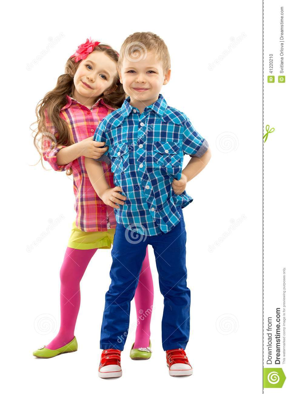 Cute Fashion Kids Are Standing Together Stock Photo ...