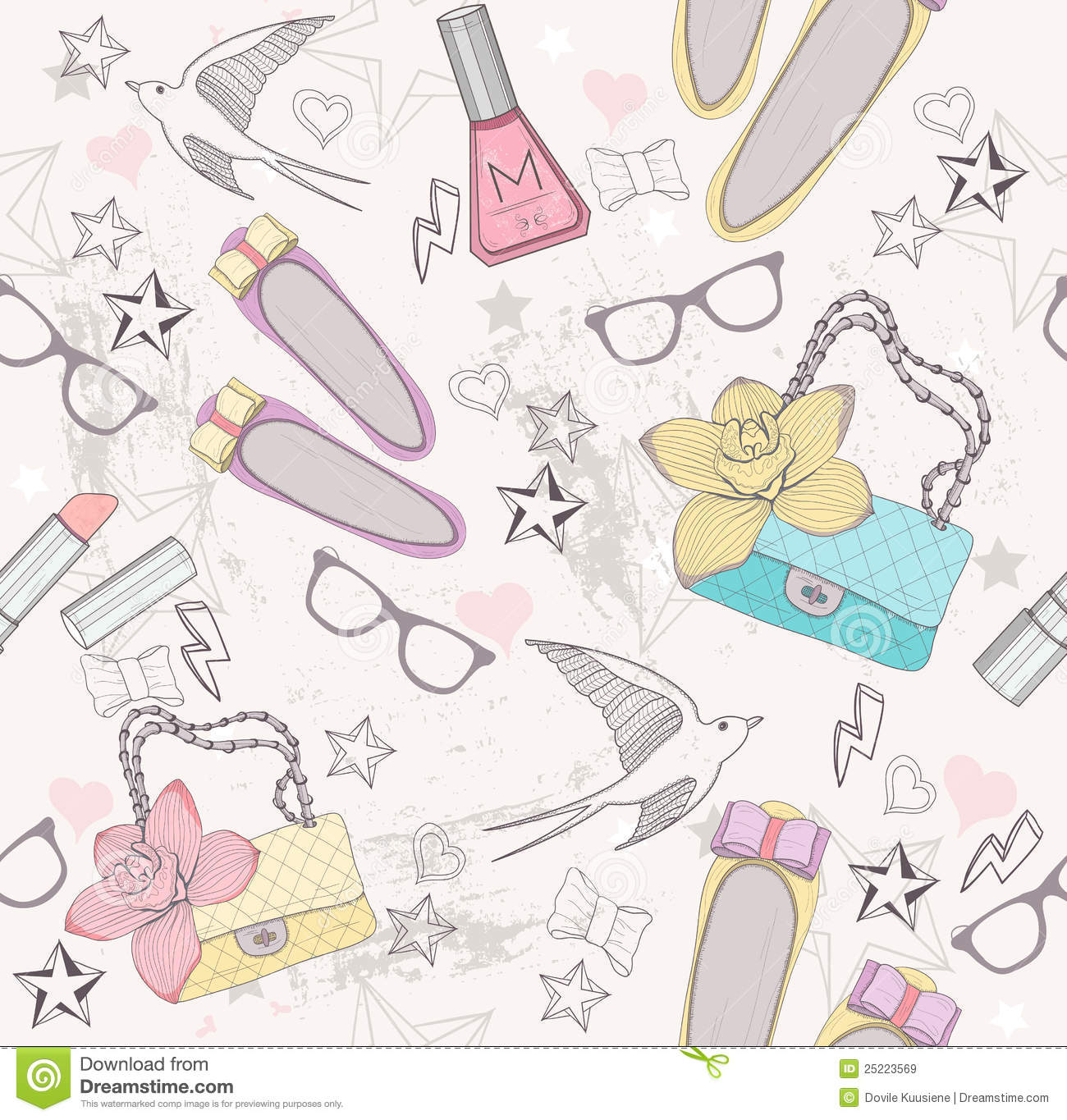 Cute fashion seamless pattern for girls