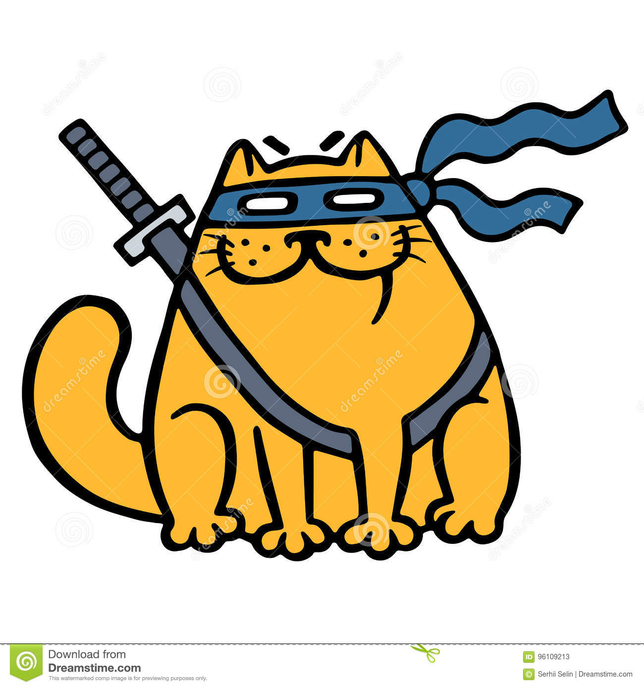 Cute Fat Ninja Cat In A Mask And A Sword  Vector Illustration  Stock