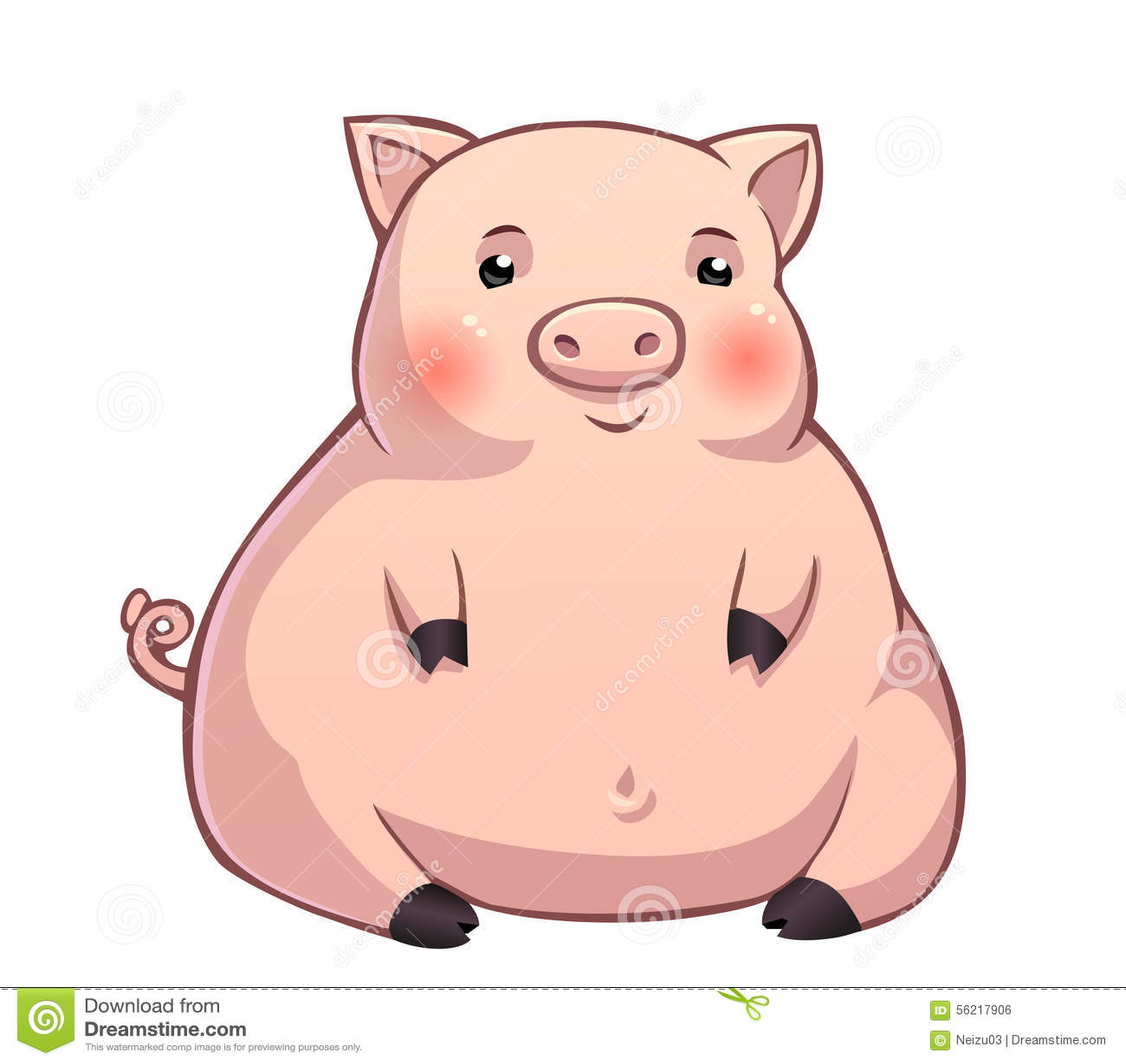 cute fat pink piglet stock illustration image 56217906 Cute Farm Animals Clip Art Cute Baby Animal Clip Art