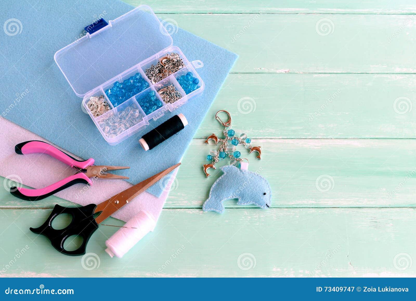 cute felt dolphin keyring with beads blue felt sea animal