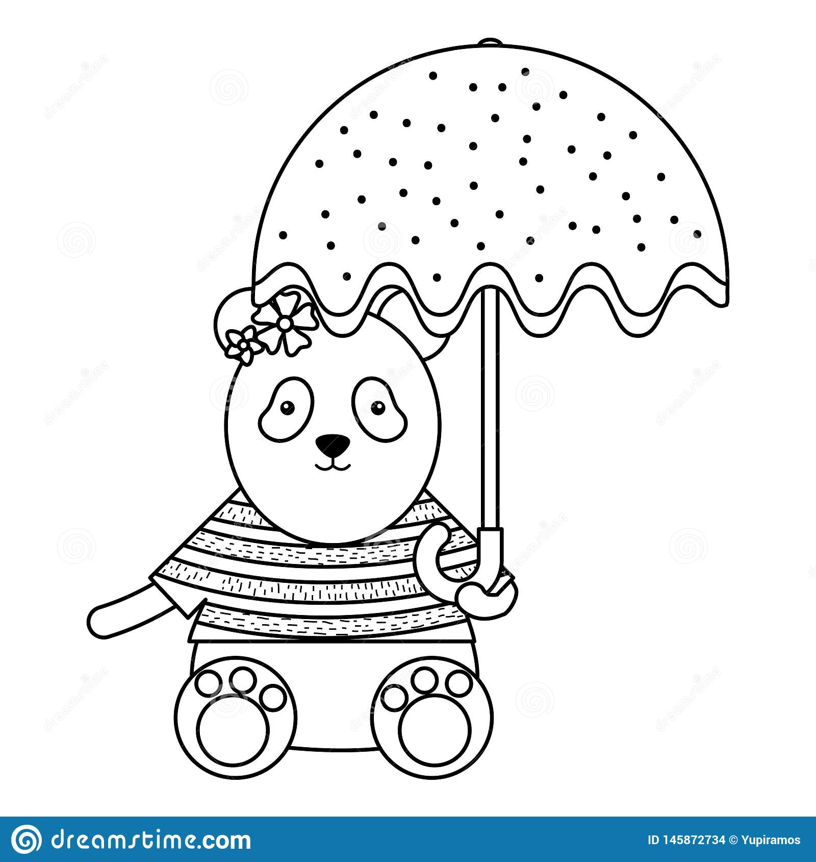 Cute female bear panda with umbrella. Vector illustration design stock images