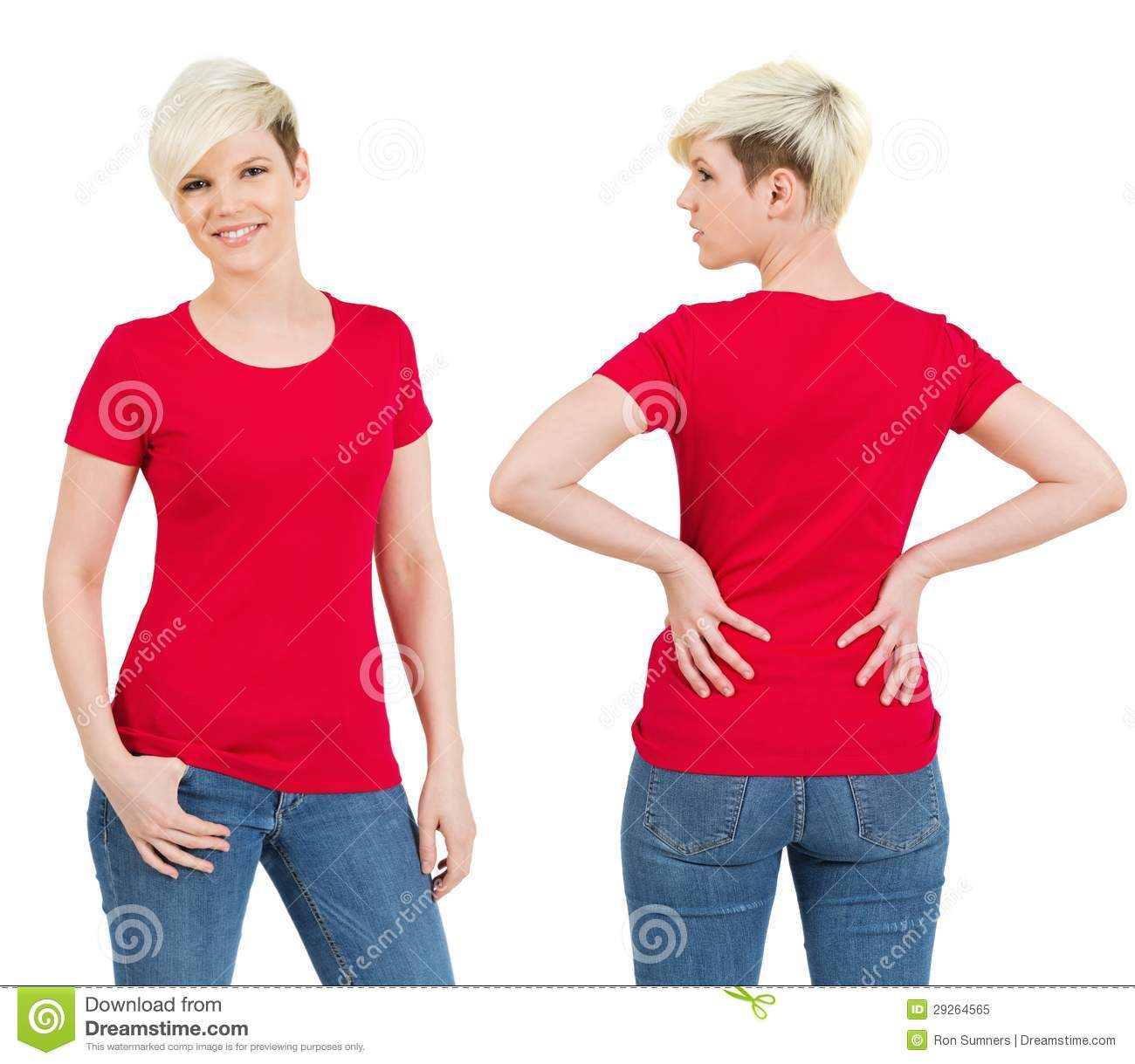 2730a26f Young beautiful blond female with blank red shirt, front and back. Ready  for your design or artwork.