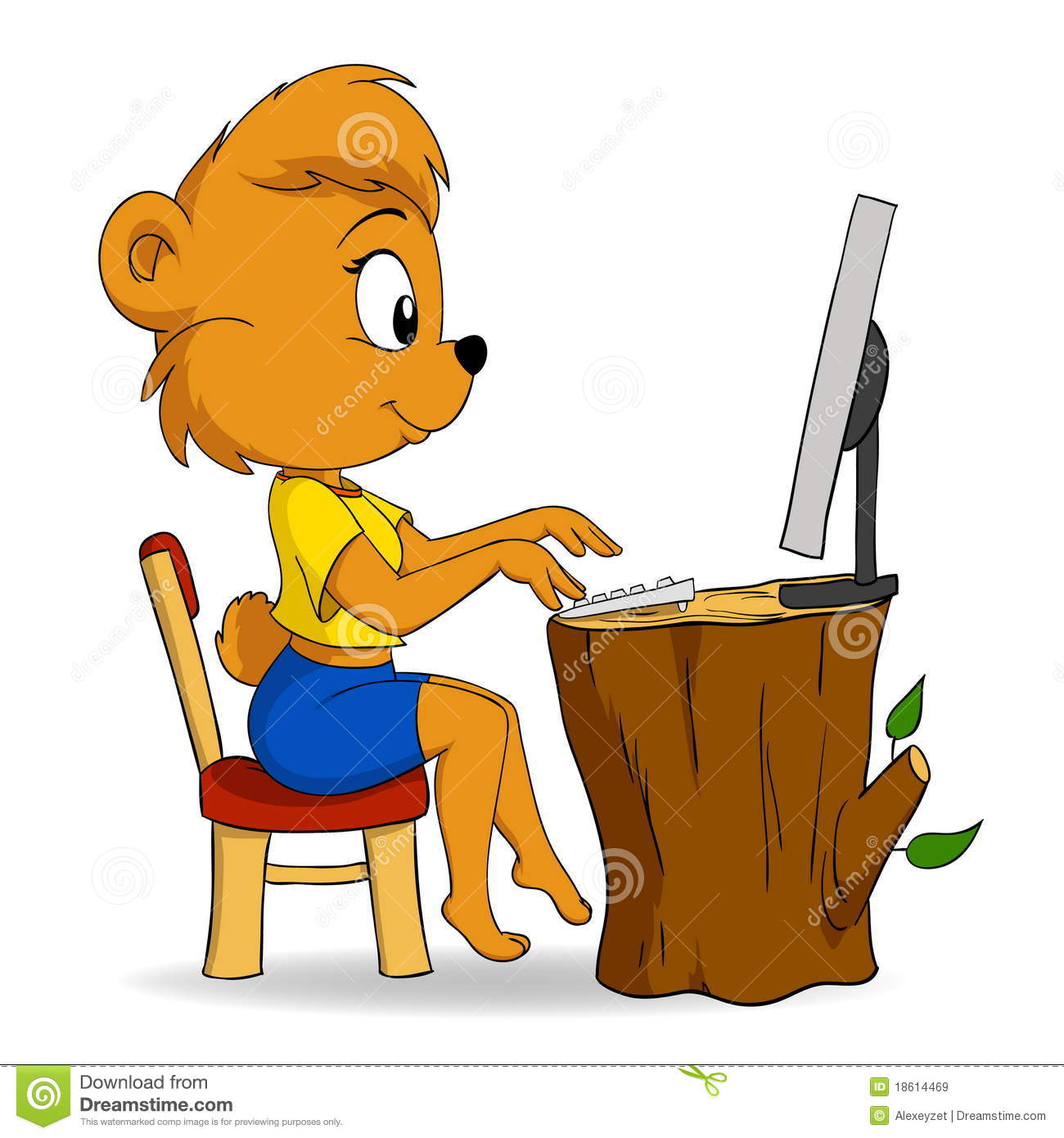 Cute Female Cartoon Bear Typing On Computer Royalty Free Stock ...