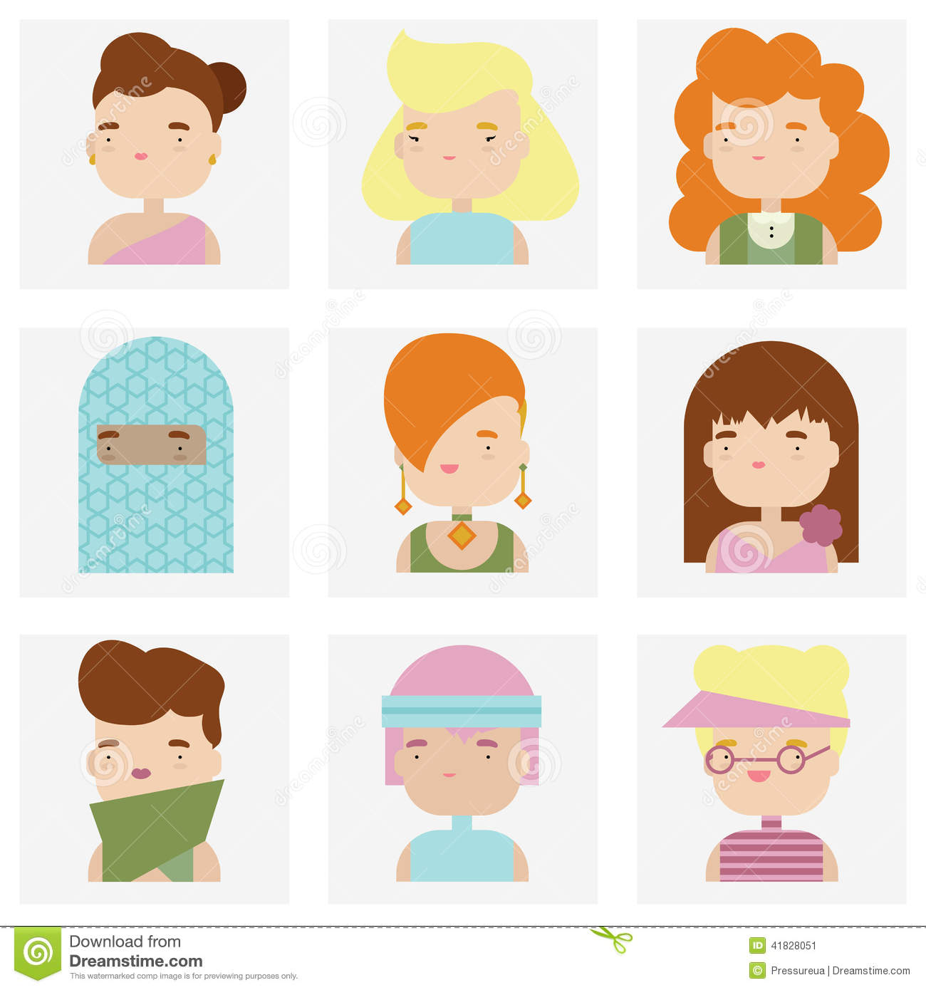 Cute Character Design Illustrator : Cute female character faces flat icons stock vector