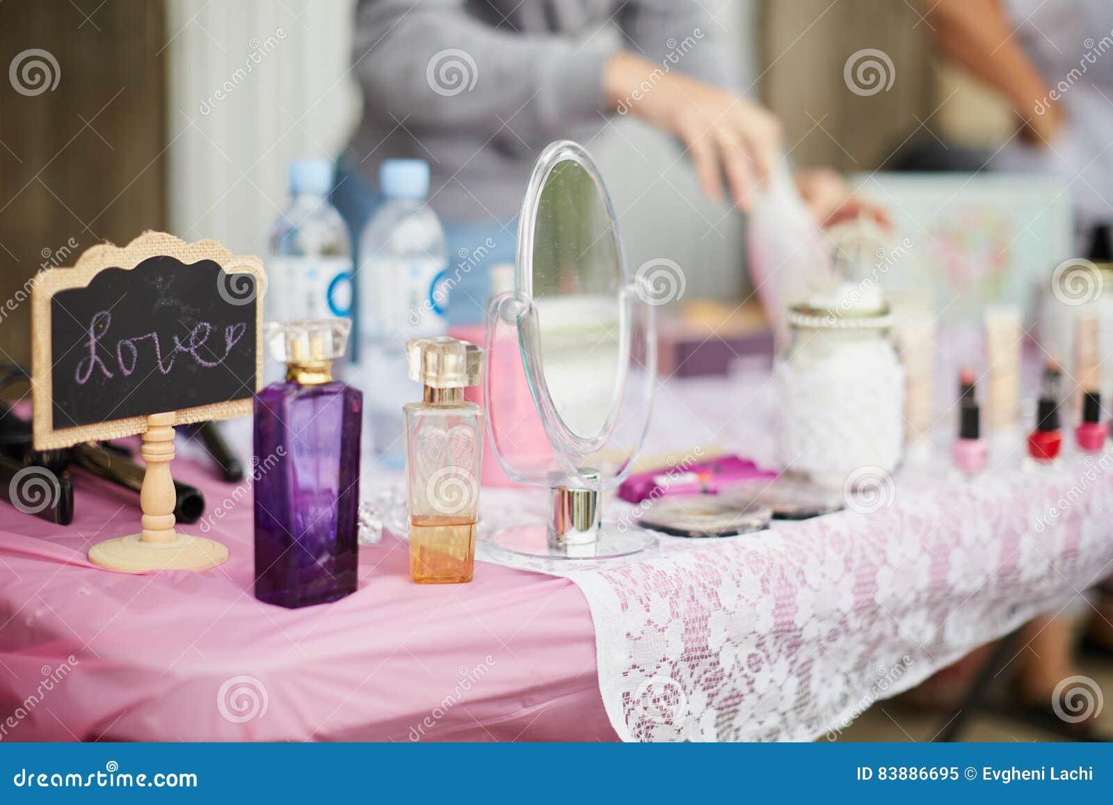 Cute Feminine Stuff On Pink Table.