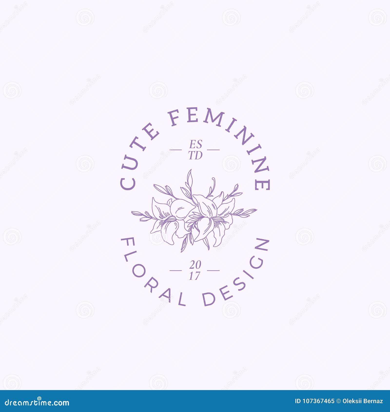 Feminine Logo Collections Template: Cute Feminine Vector Sign, Symbol Or Logo Template