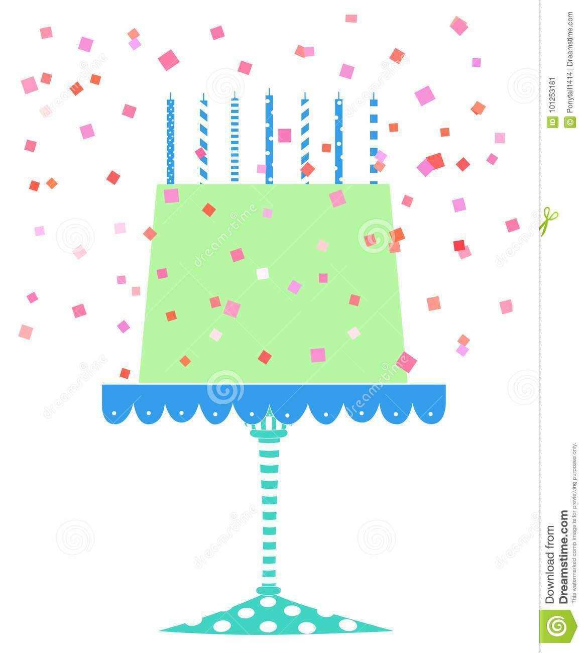 Tremendous Cute Festive Birthday Cake With Confetti Stock Illustration Funny Birthday Cards Online Alyptdamsfinfo