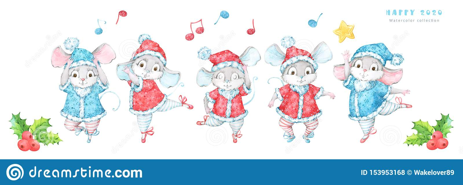 Cute and festive 2020 New Year and Christmas banner with five hand painted watercolor mice, rats, in red and blue costumes decorat