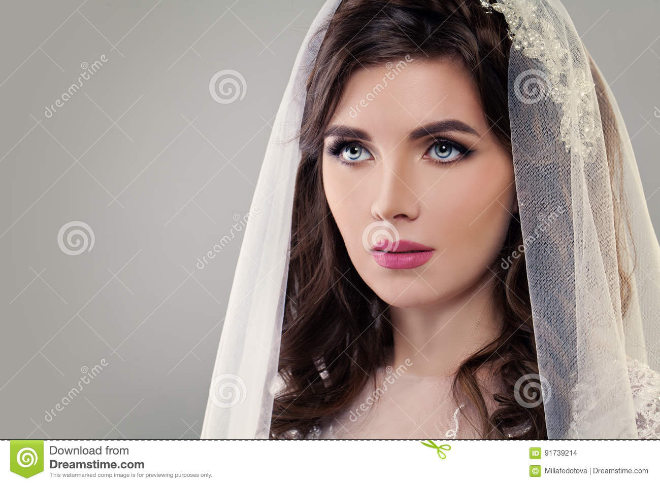 Cute Fiancee With Make Up Bridal Hairstyle And Veil Stock Photo