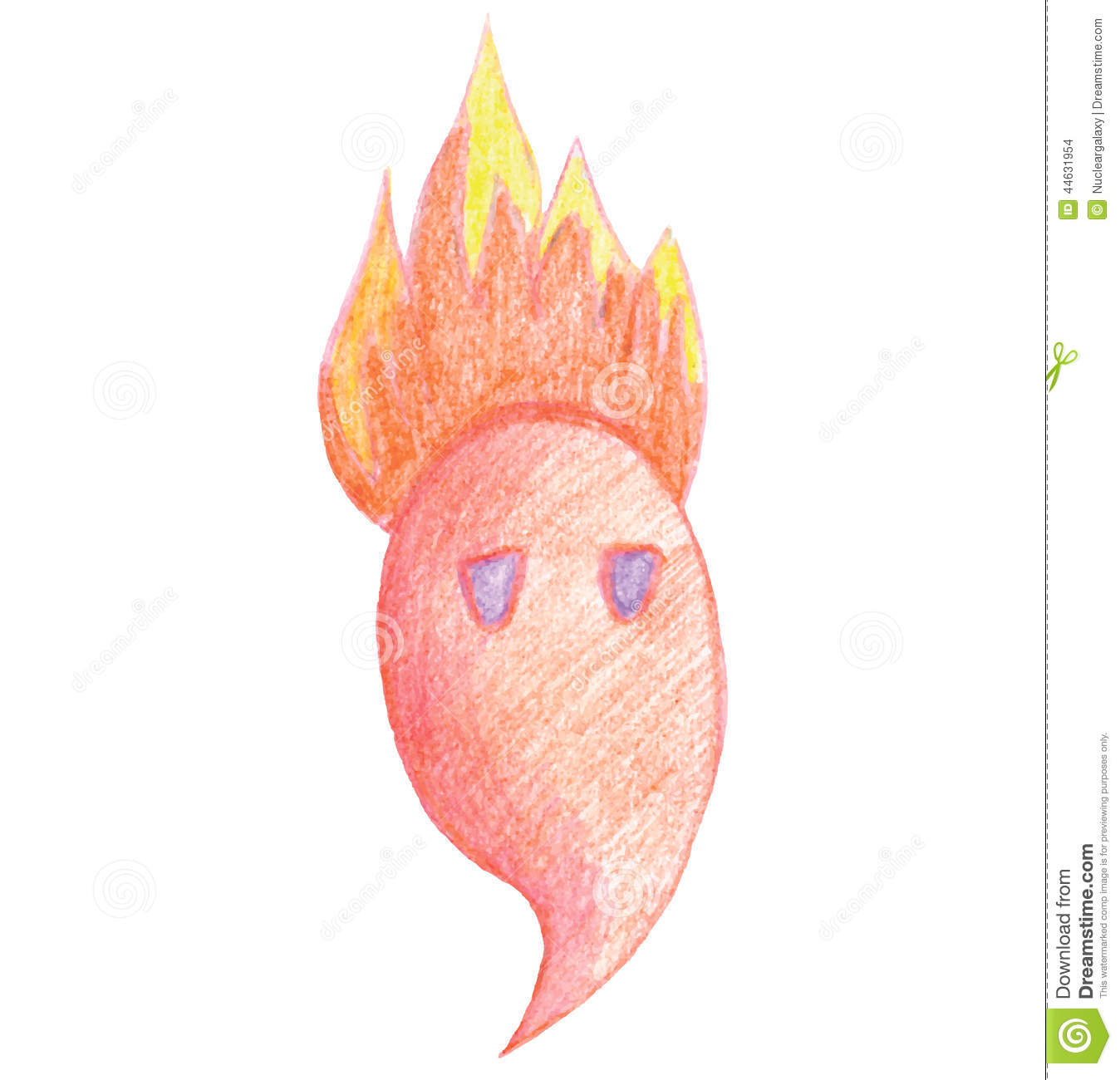 Cute Fiery Monster Draw A Pencil Stock Vector Illustration Of Icon