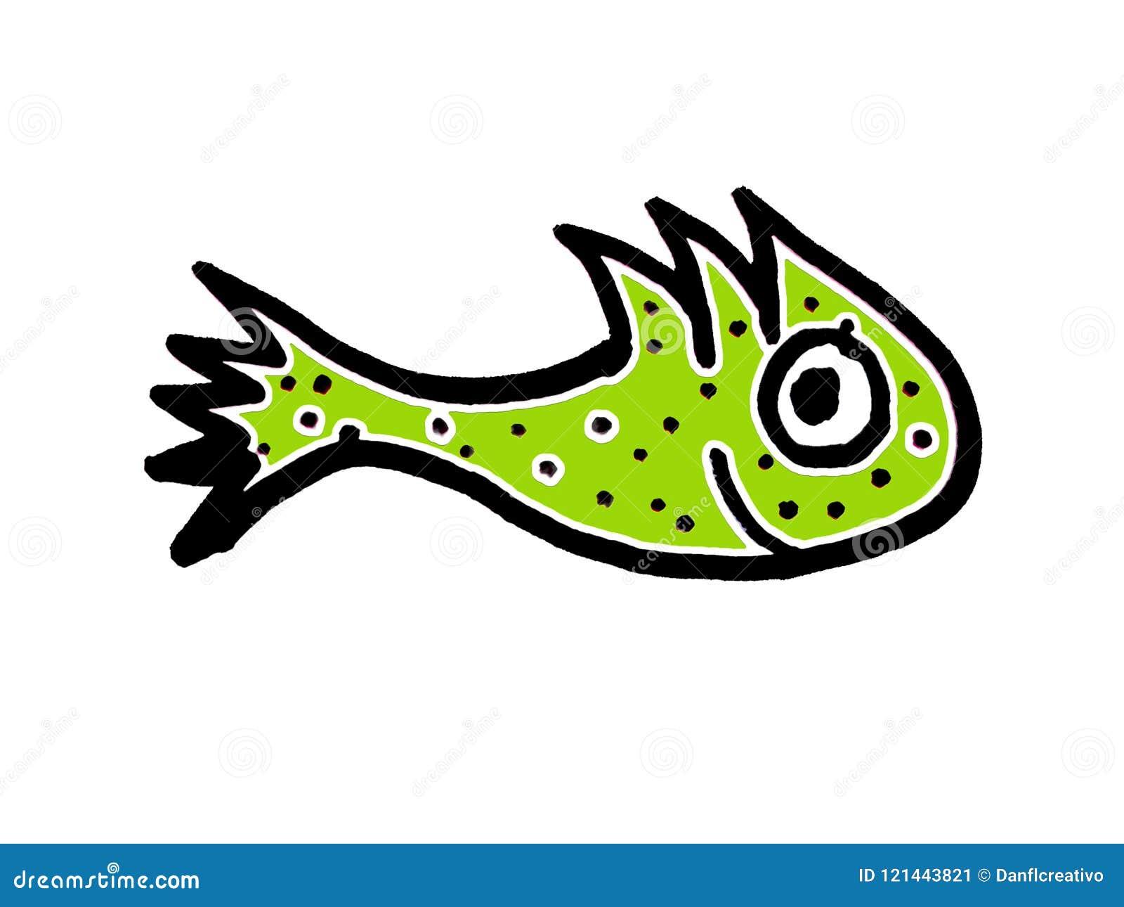 Cute Fish Cartoon Kids Style Drawing Stock Illustration