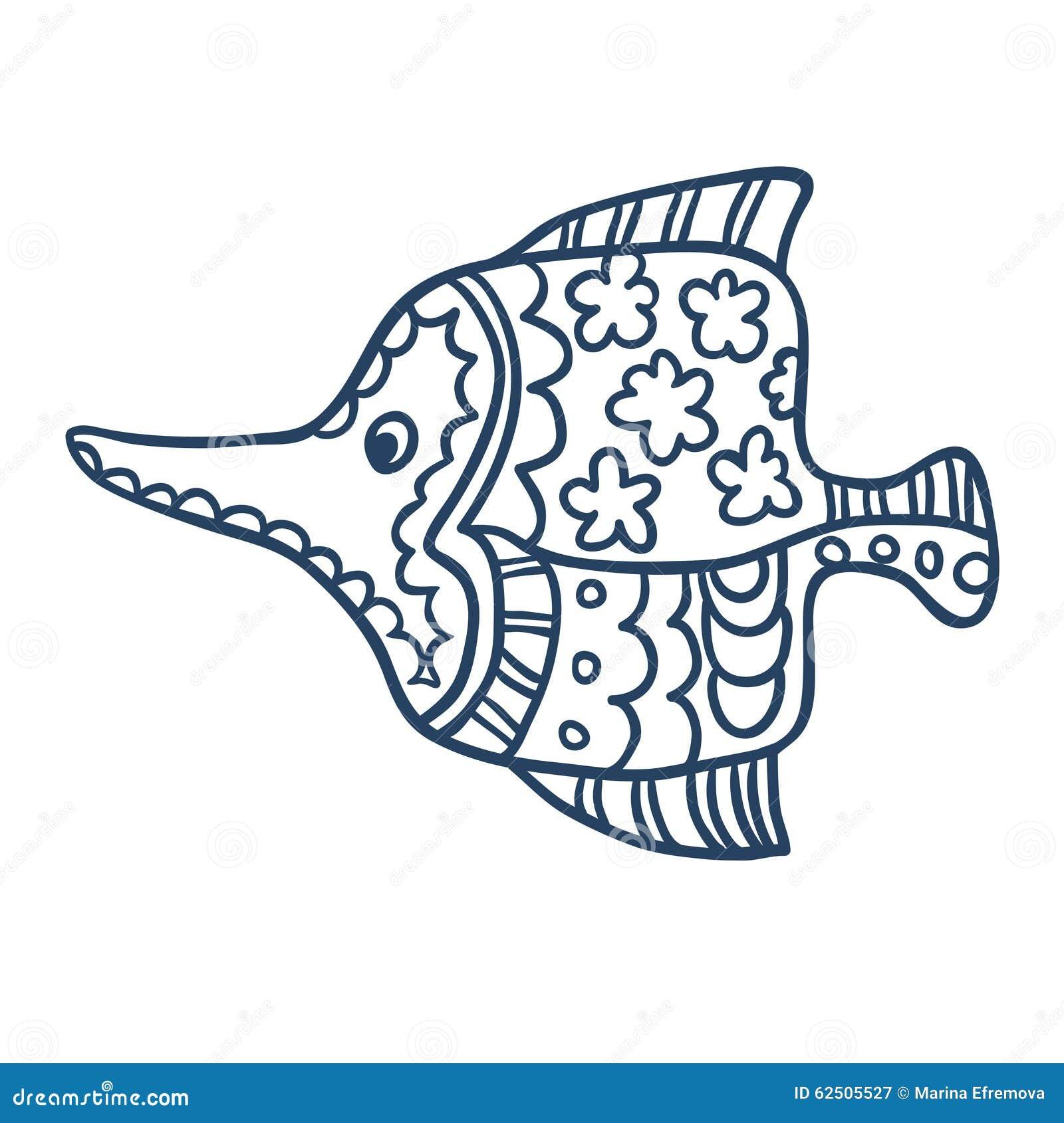 Spur Art Design Your Line : Cute fish cartoon line art coloring stock vector